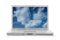 Laptop with cloud picture on it