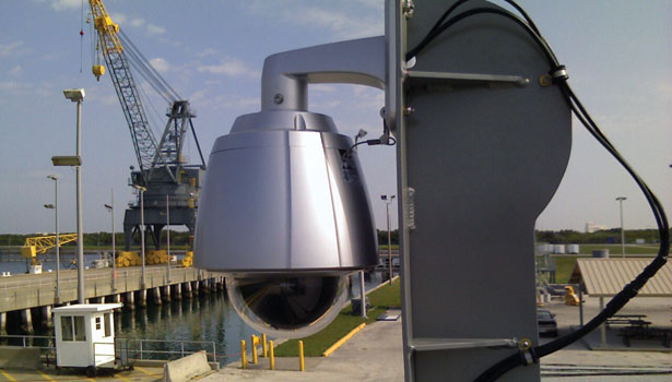 Security Video Camera mounted outdoors