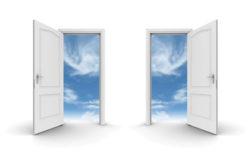 Two doors open to the sky