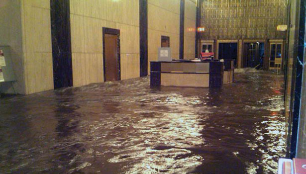 Superstorm Sandy swamped the ground floor of Verizon's headquarters in Lower Manhattan