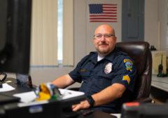 Jeffrey Horn sits at desk