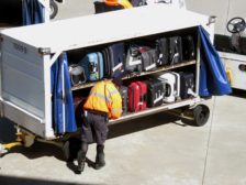 Baggage being loaded onto an airplane