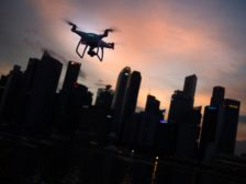 Drone over city skyline