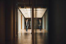 Student walks in hallway