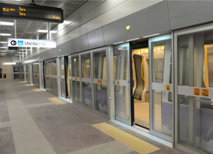 The new driverless train in Milan's metro line 5 is supported by surveillance cameras and integrated mass notification for stronger evacuation protocols and security.