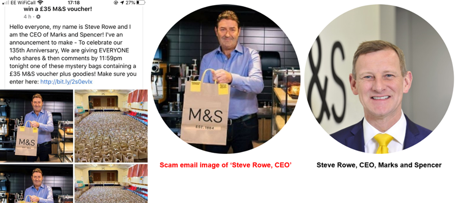 Marks and Spencer stores phishing scam impersonates CEO on social media
