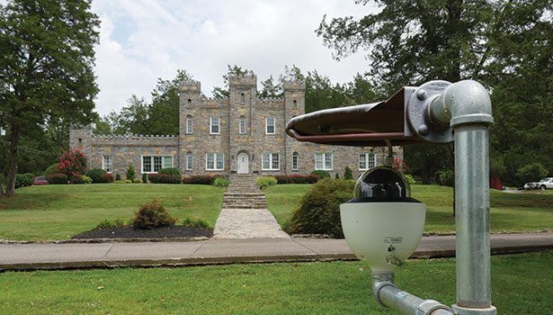 Sensors in the driveway at The Castle are integrated with the front positioned PTZ camera so when an alert is detected the camera will pan in that direction and record the action.