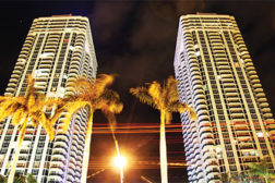 An affinity for customer service and sensitivity to protect residentâ??s private homes is evident in the security program at the Blue & Green Diamond Condominiums in Miami Beach, Florida.