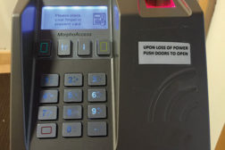 The fingerprint reader from MorphoAccess that parents and employees use at the Crystal City Childrenâ??s Center in Arlington, Virginia.