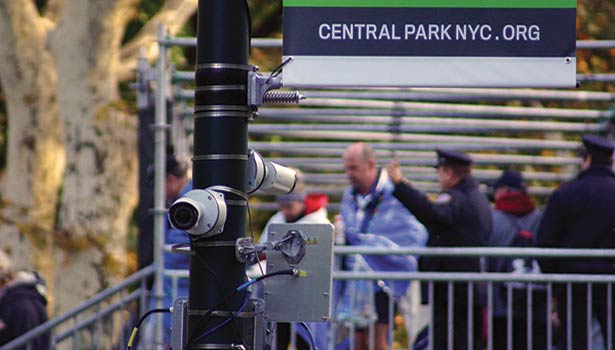 Cameras played a crucial role in protecting the New York Marathon along its route. Solutions included easy-setup wireless cameras. Photo courtesy of Sony