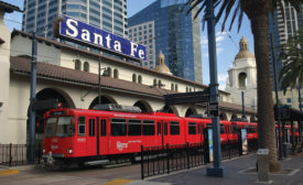 Cameras are positioned at stations throughout the San Diego transit system. Photo courtesy San Diego MTS