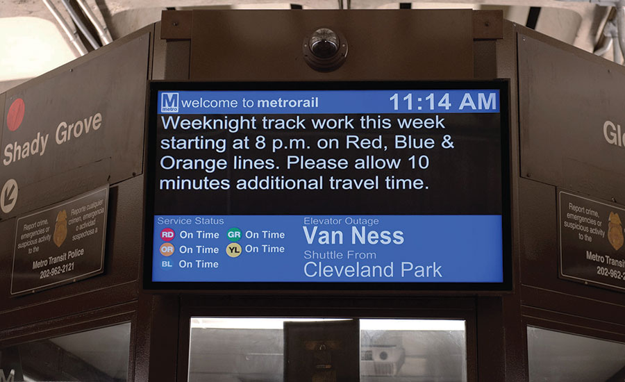 Amber alerts and other security messages can be displayed at transit stations. Photo courtesy Peerless AV