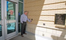 Keyfobs are used with an access control reader at the main entrance of the Turlock Public Safety facility. Photo courtesy of Honeywell