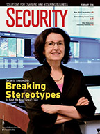 Security Magazine February 2016 cover, Security Leadership: Breaking Stereotypes to Find the Next Great CISO