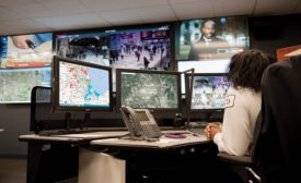 On the watch floor of McKesson's GSOC, three operator workstations