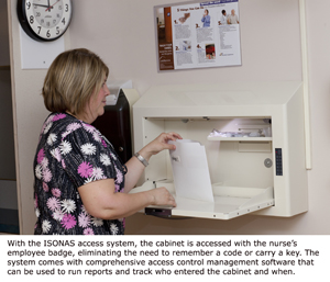 Nurse accessing a medical cabinet